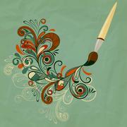 Stock Illustration of vector concept cartoon brush painting branch