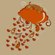 vector autumn hearts rain - stock illustration