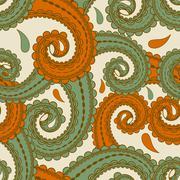 vector seamless eastern style paisley background - stock illustration