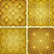 vector seamless golden patterns - stock illustration