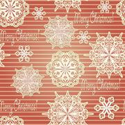 vector seamless background with paper cut snowflakes - stock illustration