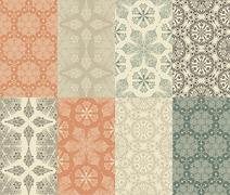 Stock Illustration of 8 vector seamless winter patterns with  snowflakes