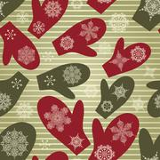 vector seamless winter pattern with mittens and snowflakes - stock illustration