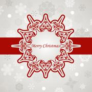 Stock Illustration of vector christmas greeting card with snowflakes