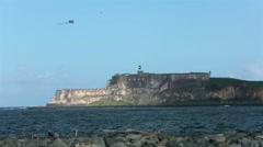 Morro Castle Fort across bay airplane banner San Juan Puerto Rico HD 0664 Stock Footage