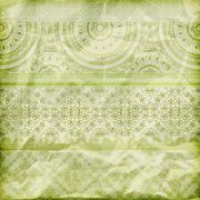 Stock Illustration of vector seamless floral borders on  crumpled green foil  paper texture
