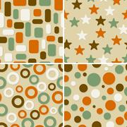 Four abstract vector seamless patterns Stock Illustration