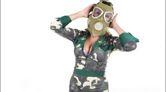 Gasmask erotic sexy gogo dancer Stock Footage