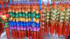 CHINESE NEW YEAR ORNAMENTS SYMBOLISING LUCK, PROSPERITY, FORTUNE Stock Footage