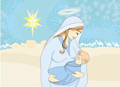madonna and child jesus - stock illustration