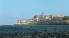 Morro Castle Fort across bay San Juan Puerto Rico HD 0663 Stock Footage