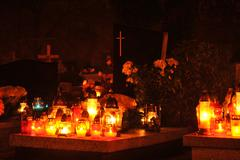 graves by night - stock photo