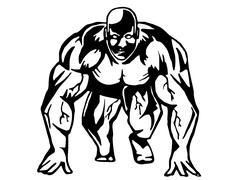Running bodybuilder - stock illustration