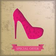 Stock Illustration of vintage background floriad high heels