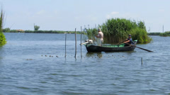 Fishing in the Danube delta Stock Footage