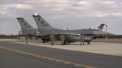 F-16 Fighting Falcon jet fighter leaving for a mission at Nellis AFB Stock Footage