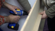 Stock Video Footage of Drilling with compact cordless drill-driver