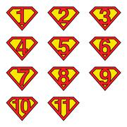 Superman numbers - stock illustration