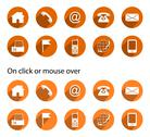Stock Illustration of Contact icons - long shadow, orange, round