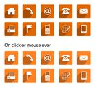 Stock Illustration of Contact icons - long shadow, orange, square