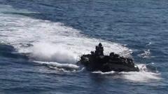 U.S. Marine Corps ASV Board USS Mesa Verde Stock Footage
