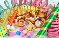"Stock Photo of typical italian dessert for carnival, ""chiacchiere"" fries with toys"