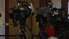 Reporters and cameras waiting for a press conference to begin. Stock Footage