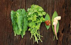 galangal ginger,parsley and thai vegetable herb - stock photo