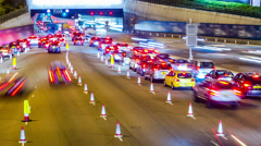 Busy Cars Going Into Tunnel. HD Tile Up Shot. Stock Footage