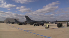 Preparing F-16 Fighting Falcon jet fighters for a mission at Red Flag Stock Footage