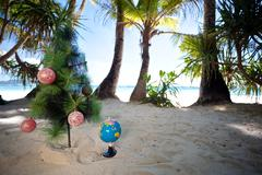 Tropic new year, celebration on vacation. Stock Photos