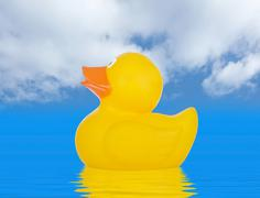 yellow rubber duck - stock photo