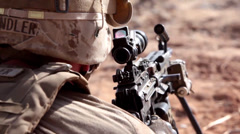 Soldier watching out with rifle Stock Footage