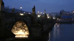 Charles bridge prague at night time, European city HD Stock Footage