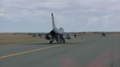 Taxing F-16 Fighting Falcon jet fighters Stock Footage