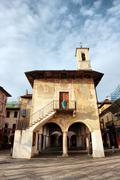 Broletto in orta, piedmont, italy Stock Photos