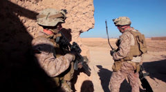 Marines on patrol in Afghanistan Stock Footage