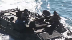Close up of an Amphibious assault vehicle - stock footage