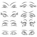 Stock Illustration of emotions. set of pairs of eyes. vector