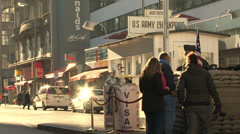 154 Berlin, Checkpoint Charlie, cars passing by Stock Footage