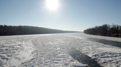 Scenic Frozen River Stock Footage