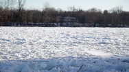 Stock Video Footage of Frozen River and Road