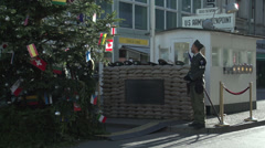 145 Berlin, Checkpoint Charlie Stock Footage