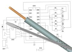 Soldering iron, screwdriver and electronic circuit Stock Illustration