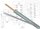 Stock Illustration of soldering iron, screwdriver and electronic circuit