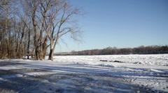 Wide Frozen River Stock Footage