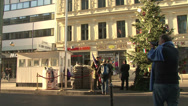 Stock Video Footage of 155 Berlin, Checkpoint Charlie, tourists taking pictures