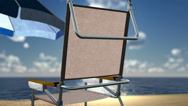 Stock Video Footage of concept vacation background sea beach with chair and seashells