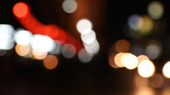 Defocused traffic lights moving Stock Footage