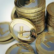 golden litecoin coins illustration. - stock illustration